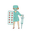 flat female doctor with huge syringe pills vector image vector image