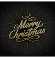 gold retro christmas sign on black background vector image