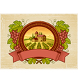 Grapes harvest label vector image vector image