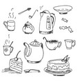 hand drawn sketch of tea pattern vector image vector image