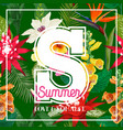 hello summer design with tropical flowers palms vector image vector image