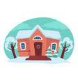 house and yard in winter season rural landscape vector image vector image