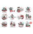 houseplants cute and funny hand drawn stickers set vector image