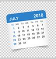 july 2018 calendar calendar sticker design vector image vector image
