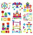 kids building blocks toy bacolorful vector image