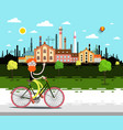 landscape with factory man on bicycle vector image vector image