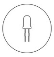light diode black icon outline in circle image vector image