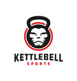 lion kettlebell logo vector image vector image