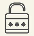lock line icon padlock vector image