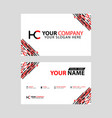 logo hc design with a black and red business card vector image vector image