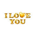 love you heart valentine card template gold vector image vector image