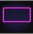 neon light rectangular banner neon light vector image vector image