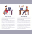 office work banners set business people man woman vector image vector image