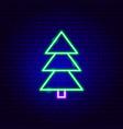 pine tree neon sign vector image vector image