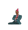 pop art afrikan businessman birthday greetings vector image