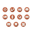 railroad transportation round flat icons vector image vector image