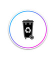 recycle bin with recycle symbol icon isolated on vector image