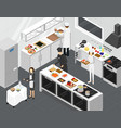 restaurant cooking room interior with furniture vector image vector image