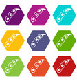 ripe soybean icon set color hexahedron vector image vector image