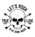 rock and roll t-shirt graphic design with skull vector image vector image