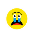 sad crying face emoji icon flat style cute vector image vector image