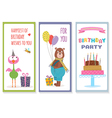 set of birthday greeting cards with cute animals vector image