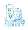 silhouette cute boy and girl with casual wear vector image