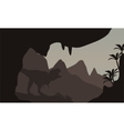 Silhouette of T-Rex in highlands vector image vector image