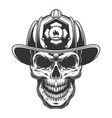skull in firefighter helmet vector image vector image