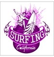 Surfing - label and elements vector image vector image