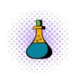 Test tube with oil icon comics style vector image