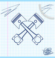 two crossed engine pistons line sketch icon vector image