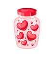 valentines day jar filled with hearts vector image vector image