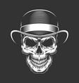 vintage gentleman skull in fedora hat vector image vector image