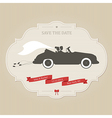 Vintage wedding invitation with retro car dragging vector image vector image