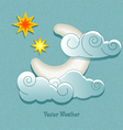weather icons in retro style moon behind cloud vector image