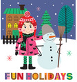winter poster with girl and snowman vector image vector image