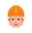 worker sad emotion avatar builder in protective vector image vector image