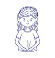young woman cartoon character isolated icon vector image vector image