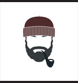 portrait of bearded old sailor with tobacco pipe vector image