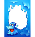 A blue border design with a monster wondering vector image vector image