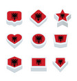 albania flags icons and button set nine styles vector image vector image