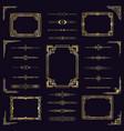 art deco border frames vintage arabic golden vector image