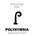 astrology asteroid polyhymnia vector image vector image