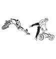 bikers on white background extreme theme modern vector image vector image