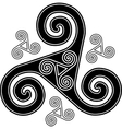 Black and white celtic triskel symbol vector image vector image