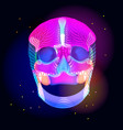 bright human skull over dark vector image vector image