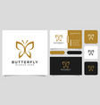 butterfly animal logo design and business card vector image