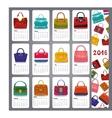 Calendar 2016Fashion woman handbags vector image vector image
