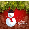 card christmas with reindeer and leaf pine design vector image